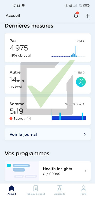 activité montre withings application